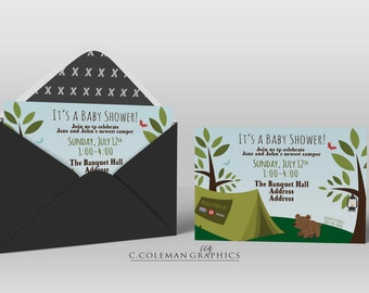 Camping Theme Baby Shower Invite #1 -- Custom Invitations -- Digital File OR Free Shipping Prints