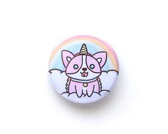 Unicorn Corgi Button-Dog Buttons-Buttons-Pins-Dog Pins-Button Pins-Button Badges-Unicorn-Welsh Corgi-Corgi-Magical Pins-Cute Buttons