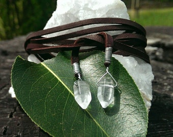 Brown Leather Wrap Necklace // Brown Deer Skin Lace Wrap with Quartz Points // Leather & Crystal Tie Necklace