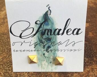 Gold Pyramid earrings