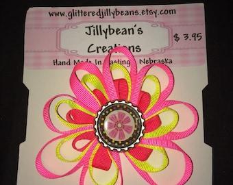 Hair clip Neon pink ribbon flower