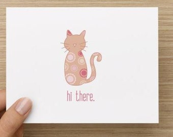 Notecard.  Funky cat. Hi there.  Package of 10, 20, 30, or 40