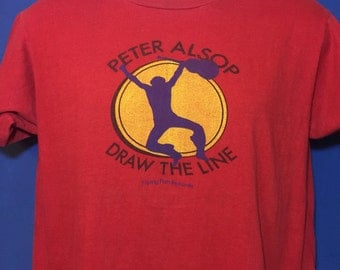 Vintage 1980 Peter Alsop Draw The Line t shirt album promo flying fish records *M