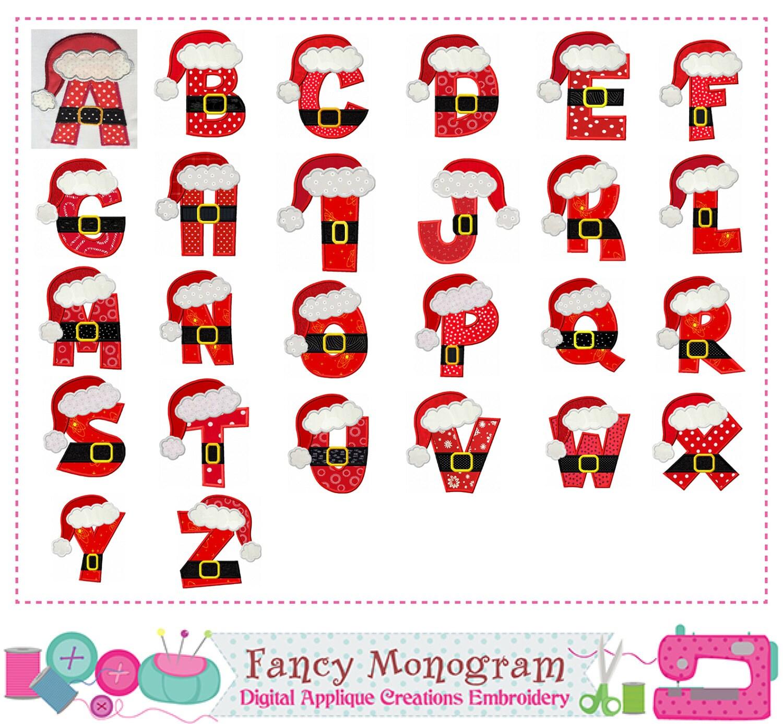 Santa claus letters appliquechristmas monograms - Alphabet noel ...