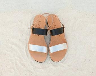 Apostasy collection/ aelia greek sandals/leather/ black/ silver