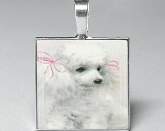 Vintage style white poodle dog dogs glass tile pendant jewelry