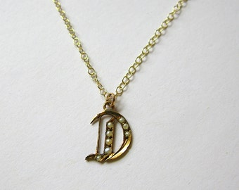 Antique Victorian 9ct Gold and Pearl Letter D Charm Necklace