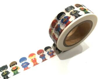 Japanese Washi Tape, Baby Super Heroes, Batman Superman Ironman Robin Spiderman 10 METRE