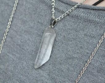Clear Quartz Crystal Point Necklace