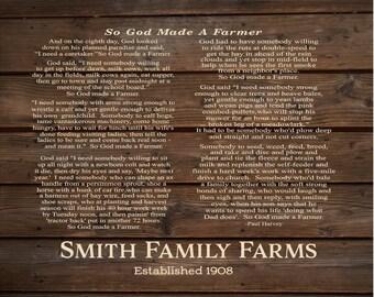 Custom Farm Name God Made A Farmer by Paul Harvey Personalized Name Wood Sign, Canvas Wall Art - Christmas, FFA, Father's Day