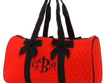 "Personalized Quilted Duffel with Detachable Bows - Large 21"" Red Duffle Bag with Black Accents - QS703-RDBK"