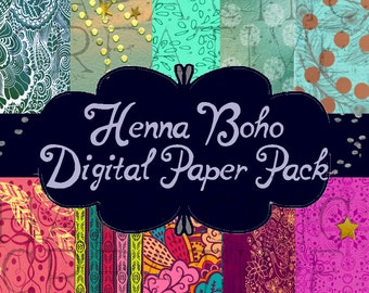 HENNA Boho Prints  Digital Paper Pack  Bohemian  Digital Download Digital Background - Printable Paper - Bohemian  Hippie   Scrapbook Paper