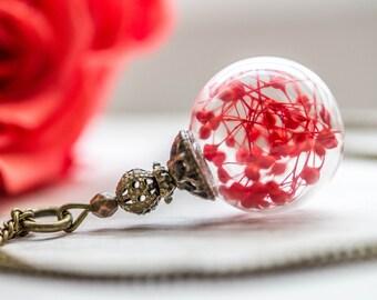 Real flower Necklace, Jewelry Glass Globe Pendant,flower necklace, Real dried flower, flower pendant,wish jewelry, genuien flower necklace
