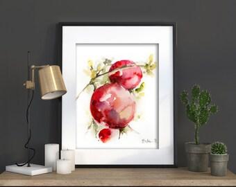 Pomegranates Watercolor Print, Watercolor Painting Art Print, Pomegranate Painting, Wall Art