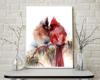 Couple Cardinal Birds Pair Art Print, Watercolor Print, Watercolor Painting of Birds, Northern Cardinals Painting, Bird Art