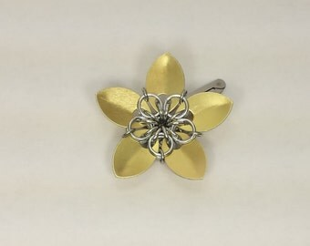 Gold Scale Flower Hair Barrette