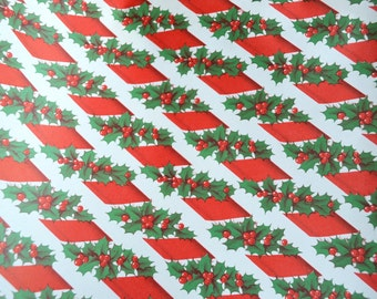 Vintage Christmas Wrapping Paper - Holly Candy Cane Stripe - Full Unused Sheet