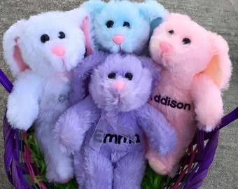 Personalized Plush Easter Basket Bunnies Stuffed Bunny White Blue Pink Purple