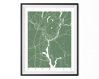 NORWICH Map Art Print / Norwich City Poster / Norwich Wall Art / Connecticut/ Gift / Connecticut home decor