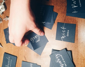 Wedding Place cards & Modern Calligraphy, Navy and Silver