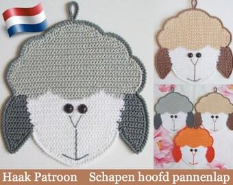 076NLY Schapen hoofd decoratie of pannenlap - Haak Patroon PDF file door Zabelina Etsy