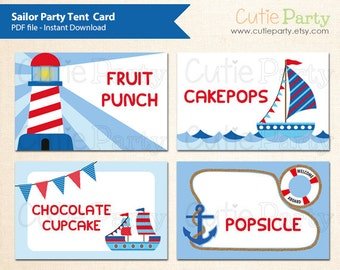 Sailor Theme Party Tent Card, Printable Sailor Tent Card, Nautical Tent Card, Editable Sailor Party Label, buffet card, food tags, gift tags