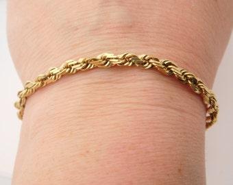 14K Yellow Gold Rope Bracelet 8 Inch