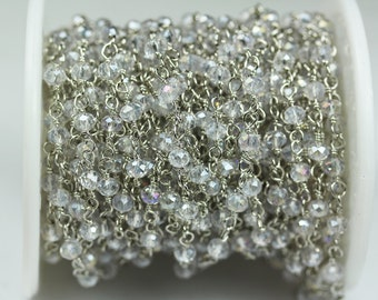 1foot ClearAB Crystal Class Wire Wrapped Beaded Chain - Silver plated Brass Rosary Style Chain -WC0187