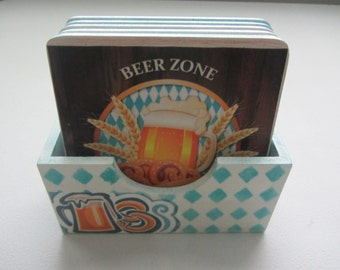Octoberfest coaster set of 6, Decorative coaster set, Drink coaster, Handmade coaster.