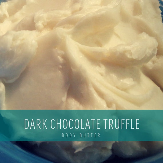 Dark Chocolate Truffle Scented Handmade Body Butter, Original Formula Whipped Organic Body Butter with Organic Coconut Oil & shea butter