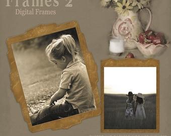 Vintage Frames 2, Digital Frames, Cardboard Frames, Scrapbook Frames, Frame Clipart, Brown Frames, Instant Download