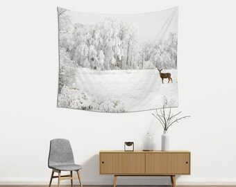 Winter Wall Hanging, Tapestries, Landscape Photography, Large Wall Art