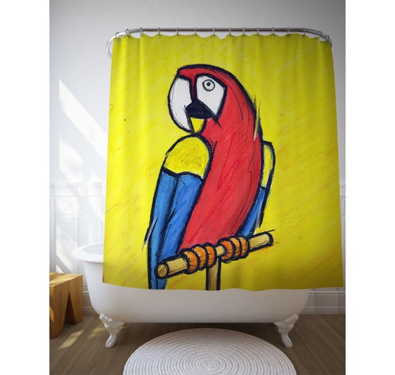 Bird Shower Curtain, Parrot Art, Bathroom Decor, Kids Bath Art, Yellow Shower Decor, Animal Illustration