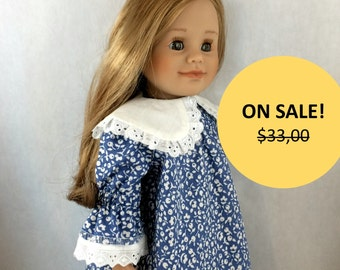 """1800's American Girl Historical Doll Dress.2-Piece Set. 18"""" Doll Victorian Doll Dress, Also Fits Maplelea and Gotz"""