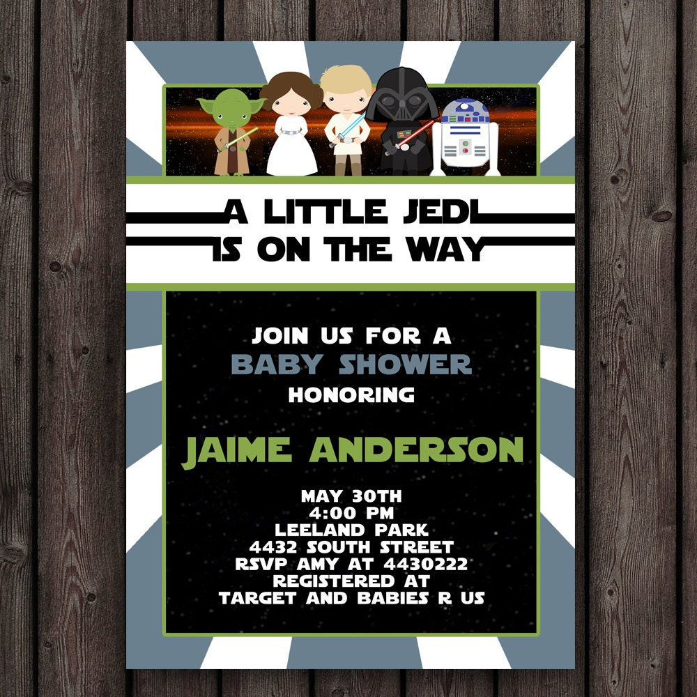 star wars baby shower invitation customized wording included