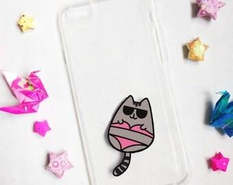 Hand painted Bikini Cat phone case, iPhone 7 case, iPhone 6s case, Cat phone case, Samsung Galaxy S8 Case, Samsung Galaxy S7 Edge Case