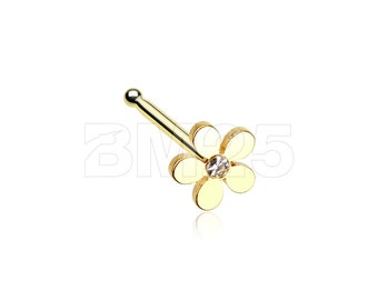 Golden Grand Plumeria Nose Stud Ring