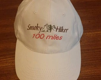 Hiking cap, Smoky Mountains, hiking, ball cap, new, embroidered, 100 miles, mileage
