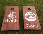 Wood Stained Custom Corn Hole Boards - Custom Large Logo made for Home or Cabin