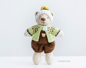 KIWI-boy, knitted toy little cotton teddy bear, size 6,5 in
