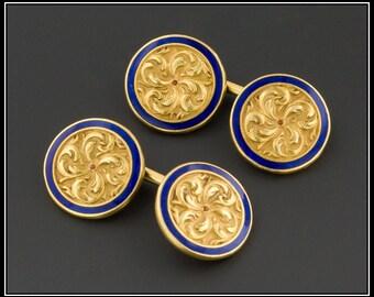 Antique Gold Cufflinks   18k Gold Cufflinks   Gold & Blue Enamel Cufflinks   Antique Cufflinks