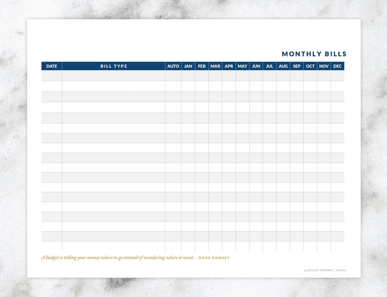Monthly Bills Worksheet Instant Download