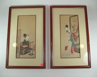 Two Unusual Japanese Hand-Painted Geisha Paintings Meiji Period