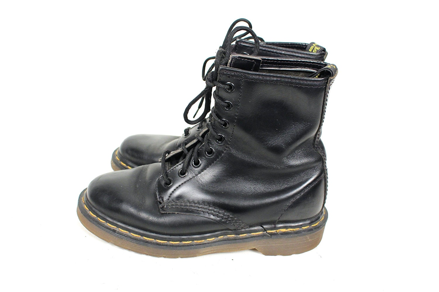jahrgang doc marten schwarz leder boot 90er jahre grunge. Black Bedroom Furniture Sets. Home Design Ideas