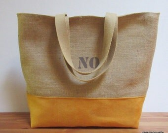 Jute burlap bag, tote bag, beach tote bag