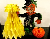Vintage Halloween Decoration, Die Cut Honeycomb Scarecrow, Corn Shock and Pumpkin, Fold out, Stand Up Centerpiece,  Japan, 1960s