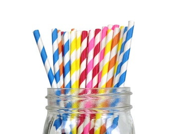 Striped Party Paper Straws 25pcs Assorted Colors Just Artifacts Brand