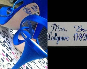 Personalised Bridal Wedding under shoe decal sole sticker