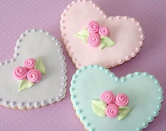 12 Pastel Heart Cookies, Decorated Cookies, Handmade Cookies, Valentine's Day Cookies, Baked Goods
