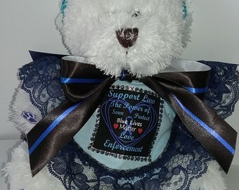 Blue Lives Matter Custom Made Teddy Bear